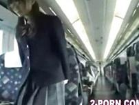 Jap cute schoolgilrl fuck with amateur on the train