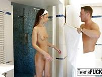 Hot brunette Angie gets anal after a shower