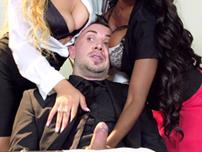 Jasmine Webb Anya Ivy Diamond Jackson and Jade Aspen sucking their boss\\' cock