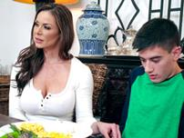 Kendra Lust strokes and sucks her daughter boyfriend\\'s huge young cock
