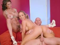 Nicole Aniston licks Peta Jensens hairy cunt while riding the cock