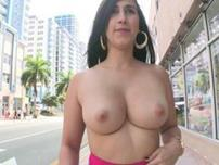 Sexy latin girl Valerie Kay shows off her tits and ass in the middle of street